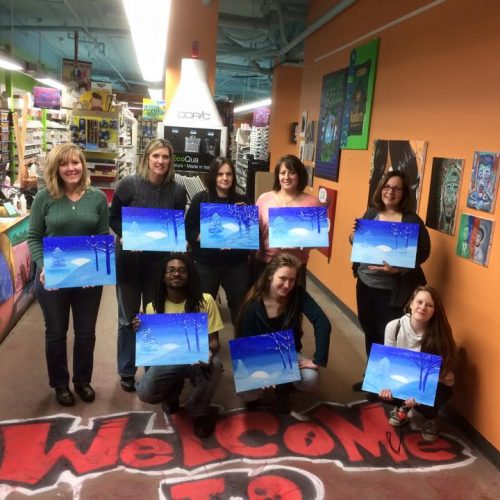 Artists from an Art Class Show Off Their Paintings at Jerry's Artarama in Wilmington, DE