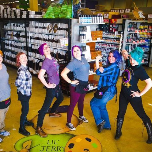 The Staff at Jerry's Artarama Art Supply Store in Raleigh, NC Posing Together