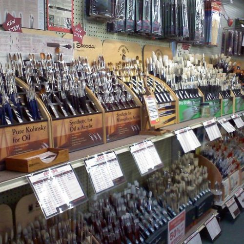Paint Brushes inside Jerry's Artarama Art Supply Store in Providence, RI