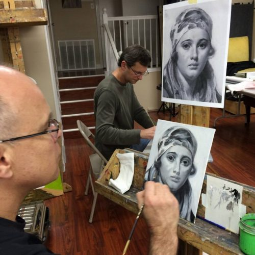 An Artist Painting a Woman's Face at a Class at Jerry's Artarama in Houston, TX
